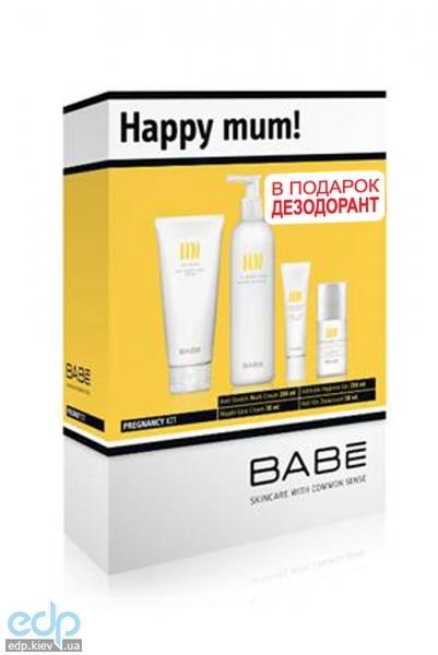 Babe Laboratorios - Набор Счастливая мама (Крем от растяжек + Гель для интимной гигиены + Крем  для ухода за сосками + езодорант шариковый) - 200 ml + 250 ml + 30 ml + 50 ml (арт. ST0032)