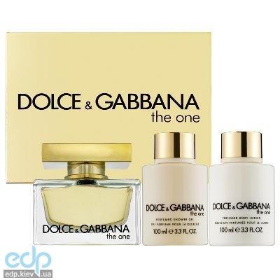 Dolce Gabbana The One -  Набор (парфюмированная вода 75 ml + лосьон для тела 100 ml + гель для душа 100 ml)