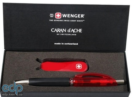 Wenger - Подарочный набор нож 1.81.11.300 и ручка шариковая Caran d'Ache Frosty (арт. 6.85.81.300.01)