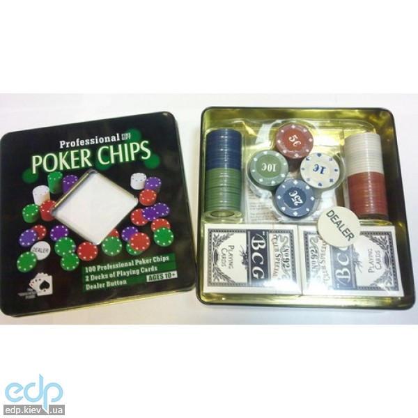 Настольная игра - Набор для игры в покер Duke в оловянной коробке на 100 фишек, 2 колоды карт (арт. TC04101N)
