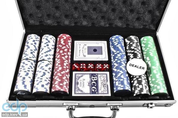Настольная игра - Набор для покера Duke на 300 фишек, 2 колоды карт в алюминиевом кейсе (арт. CG-11300)