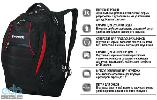 Wenger - Рюкзак SCHOOL PACK для ноутбука черно-красный 36 х 17 х 48 см (арт. 12672115)