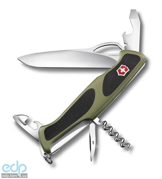 Складной нож Victorinox - Delemont RangerGrip 61 - 130 мм, 11 функций зеленый с черными вставками (0.9553.MC4)