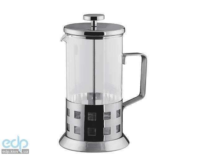 Vinzer - Кофейник / Заварник для чая Square - нержавеющая сталь, стекло Pyrex, 1000 мл (арт. 89353)