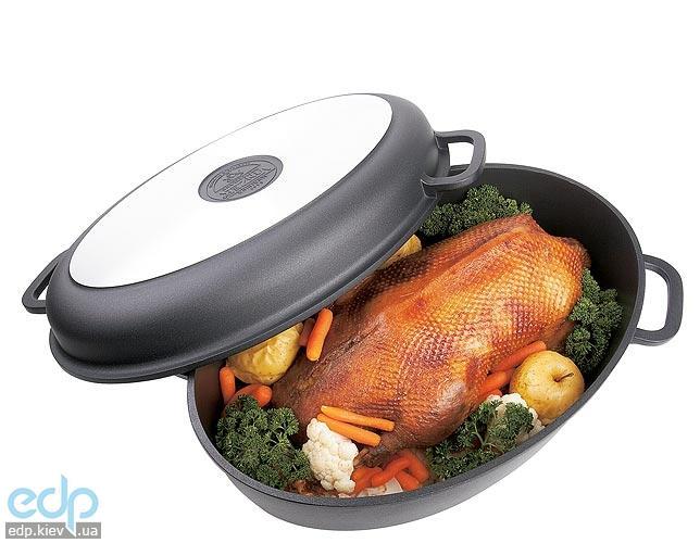 Vinzer - Гусятница с антипригарным покрытием - 38 см, 10 л, крышка - сковорода-гриль, покрытие Teflon Platinum (арт. 89420)