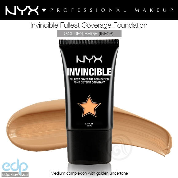 NYX - Тональная основа Invincible Fullest Coverage Foundation Golden Beige INF08 - 25 ml