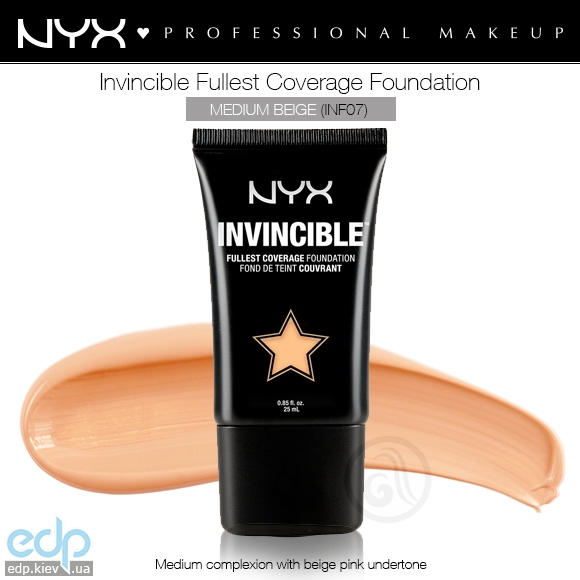 NYX - Тональная основа Invincible Fullest Coverage Foundation Medium Beige INF07 - 25 ml