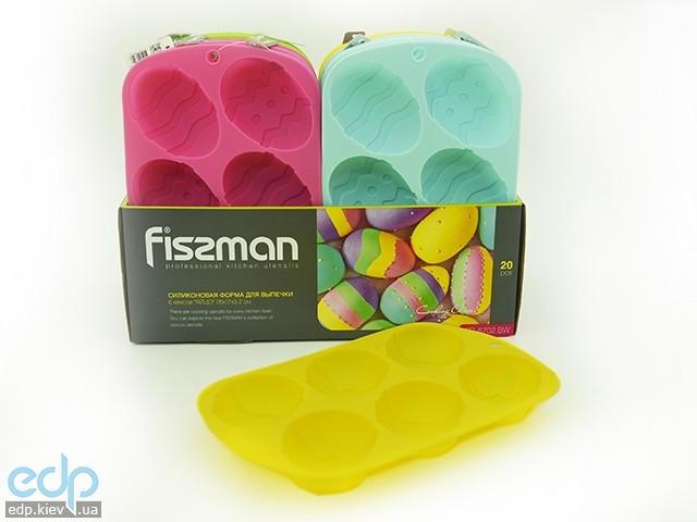 Fissman - Форма для выпекания 6 кексов Пасхальное яйцо 26x17x3,2 см (арт. PR-6702.BW)