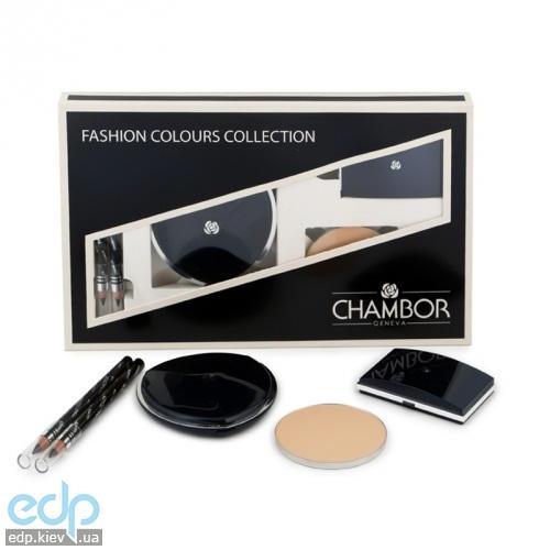 Chambor -  Набор (Пудра с запаской Silver Shadow Compact Powder №01 Слоновая Кость + тени для век 3-цветные №45 +2 карандаша для век)