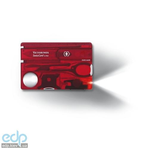Набор инструментов Victorinox Swisscard Lite 82Х54Х4мм - 13 функций красный прозрачный (0.7300.Т)