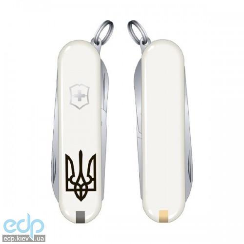 Складной нож Victorinox - Classic Sd Ukraine - 58 мм, 7 функций белый тризубец (0.6223.7R1)