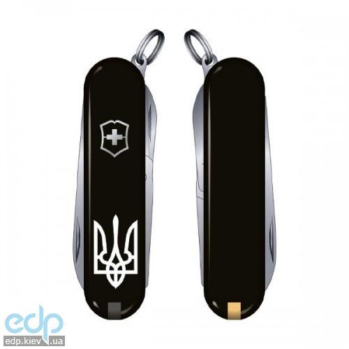 Складной нож Victorinox - Classic Sd Ukraine - 58 мм, 7 функций черный тризубец (0.6223.3R1)