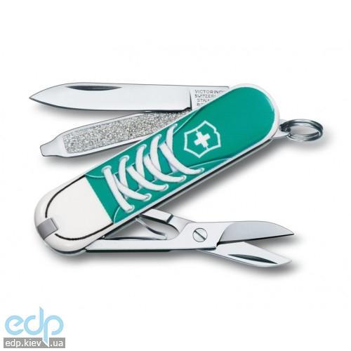 Складной нож Victorinox - Classic Sneakers - 58 мм, 7 функций зелено-белый (0.6223.L1210)