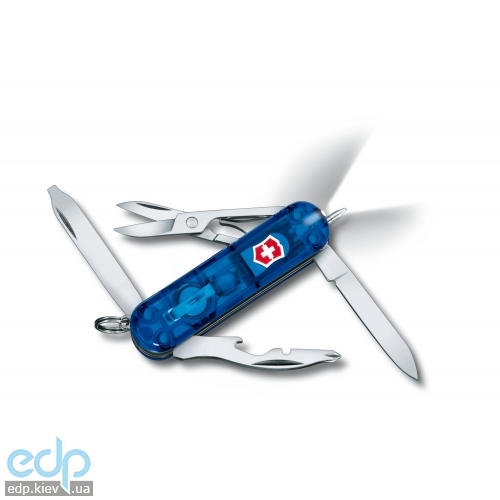 Складной нож Victorinox - Midnite Manager - 58 мм, 10 функций синий прозрачный (0.6366.Т2)