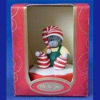 Фигурка Новогодняя MTY (Me To You) -  мишка на подставке в полосатых носочках и шапочке (арт. G01R0025)