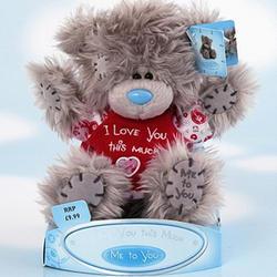 Игрушка плюшевый мишка MTY (Me To You) -  в футболке I Love You this Much 15 см (арт. G01W0648)