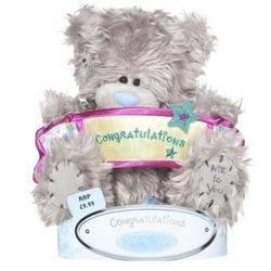 Игрушка плюшевый мишка MTY (Me To You) -  с плакатом Congratulations 15 см (арт. G01W1064)