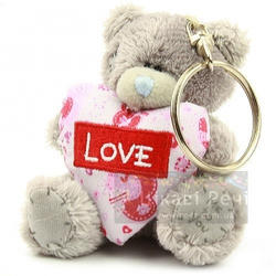 Брелок MTY (Me To You) -  плюшевый мишка держит сердце Love 7.5 см (арт. G01W1118)