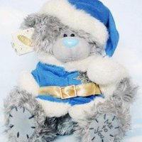 Игрушка плюшевый мишка MTY (Me To You) -  в голубой шубке Деда Мороза 23 см (арт. G01W1243)