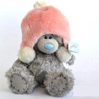 Игрушка плюшевый мишка MTY (Me To You) -  мишка в розовой меховой шапке 25 см (арт. G01W1997)