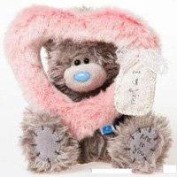 Игрушка плюшевая MTY (Me To You) -  мишка смотрит сквозь розовое сердце 17 см (арт. G01W2003)