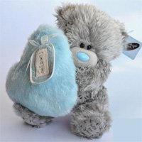 Игрушка плюшевый мишка MTY (Me To You) -  мишка с голубым меховым сердцем LOVE N KISSES 22 см (арт. G01W2006)