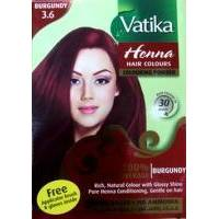 Dabur - Краска для волос на основе хны Vatika Henna Hair Colours Colouring Powder №3.6 Бордовый  - 6х10 g (D01722)