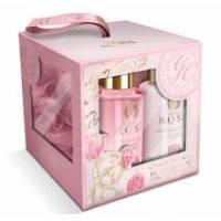 Grace Cole - Набор подарочный с ароматом розы Elegant Cleansing (гель для душа 100ml+лосьон для тела 100ml+мочалка) (RSE141303)