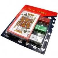 Настольная игра - Карты игральные с набором костей - 15,3х12,4 см (арт. 19142)