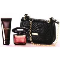 Versace Crystal Noir -  Набор (туалетная вода 90 + лосьон-молочко для тела 100 + черная косметичка)