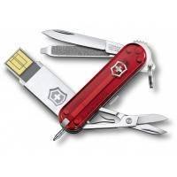 Victorinox - Складной нож Victorinox Work c usb-модулем 16ГБ - 58 мм, 8 функций Полупрозрачный красный (46125.TG16B)
