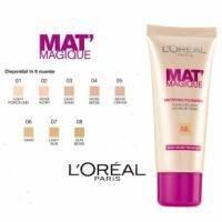 Крем тональный для лица матирующий, устойчивый Loreal - Mat Magique №01 Light Porcelain/Слоновая Кость - 25ml
