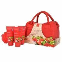 Grace Cole - Набор для тела Strawberry Bliss (гель для душа очищающий, освежающий 100ml + лосьон для тела 100 ml + пена для ванны 100ml + мочалка + косметичка) с ароматом клубники и киви