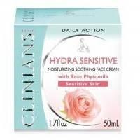Крем для чувствительной кожи увлажняющий защитный с Розой и Рисовым крахмалом Clinians - Hydra Sensitive - 50 ml (10698)