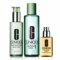 Clinique - System Type I Набор (Мыло для лица Liquid Facial Soap Extra-Mild 50 ml + лосьон для лица Clarifiante Lotion 1 100 ml + лосьон для тела увлажняющий Different Moisturizing Lotion 30 ml)