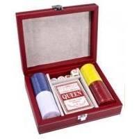 Настольная игра - Набор для покера Duke на 100 фишек в красном кожаном кейсе (арт. CCT00813)