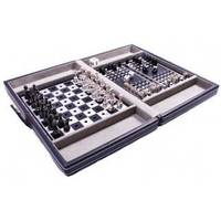 Настольная игра - Дорожный игровой набор из 3 игр Duke в кожаном кейсе шахматы, шашки, нарды  (арт. SG1150)