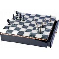 Настольная игра - Шахматы латуные Duke на мраморной доске  (арт. SG1175)