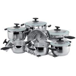 Vinzer -  Набор посуды ORION - 14 предметов, термоаккумулирующее дно, комб, крышка (стекло – металл) (арт. 69022)