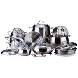 Vinzer -  Набор посуды GRAND MAJESTIC NEW - 19 предметов, медное термоаккумулирующее дно, комбинированная крышка (стекло – металл), матовая внешняя поверхность (арт. 89036)