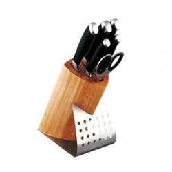 Vinzer -  Набор ножей CANVAS - 7 предметов, подставка комбинированная: дерево - нержавеющая сталь, бакелит, ручки (арт. 89107)