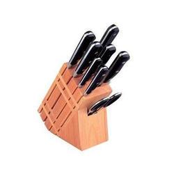 Vinzer -  Набор ножей MASTER (New) - 9 предметов, кованые ручки, деревянная подставка (арт. 89111)
