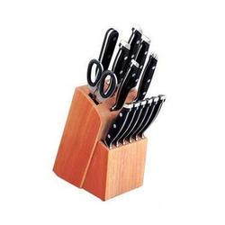 Vinzer -  Набор ножей CLASSIC (New) - 14 предметов, кованые ручки, деревянная подставка (арт. 69112)