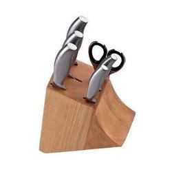 Vinzer -  Набор ножей Gourmet - 7 предметов, стальная ручка, деревяная подставка, натуральное дерево (арт. 69116)