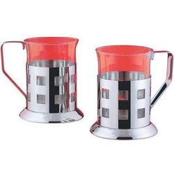 Vinzer -  Набор из двух чашек - нержавеющая сталь, стекло Pyrex, 200 мл (арт. 69354)