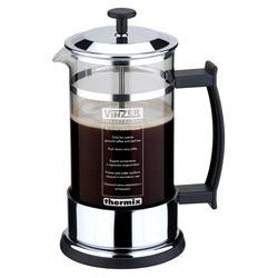 Vinzer -  Кофейник / Заварник для чая - нержавеющая сталь, стекло Thermix, нескользящее дно, пластм, ложка, 1000 мл (арт. 69358)