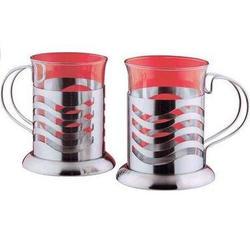 Vinzer -  Набор из двух чашек - нержавеющая сталь, стекло Pyrex, 200 мл (арт. 69362)