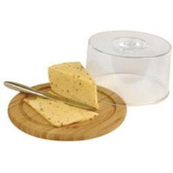 Vinzer -  Бамбуковая доска для сыра с пластиковой крышкой - диаметр 23 см (арт. 69927)