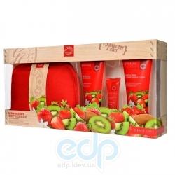 Grace Cole - Набор для тела Strawberry Refresher (гель для душа очищающий, освежающий 100 ml + лосьон для тела 100 ml + блеск для губ 15 ml + косметичка) с ароматом клубники и киви