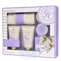 Grace Cole - Набор подарочный Absolute Renewal (гель для душа 75 ml + лосьон для тела 75 ml + кристалы для ванны 80 g + бомбочка для ванны 2 х 25 g + салфетка) с ароматом лаванды
